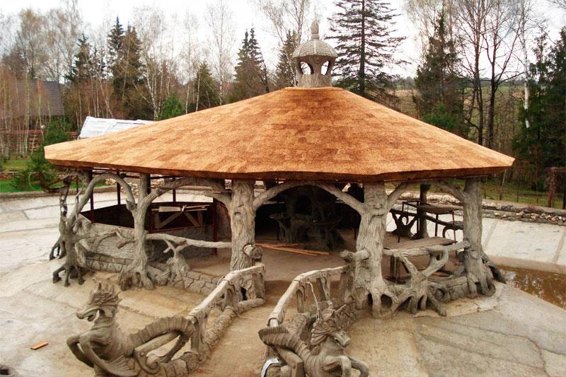 Беседка крыша из камыша своими руками